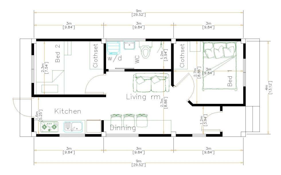 One Floor House Plans 4x9 Meter 13x30 Feet floor plan