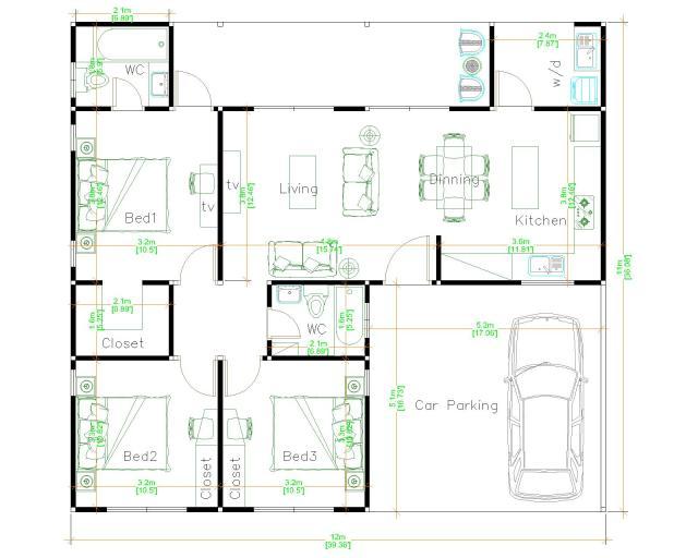 One Storey House Design 12x11 Meter 39x36 Feet 3 Beds layout floor plan