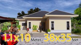 One Story Modern House 11.5x10.5 Meter 38x35 Feet 2 Beds