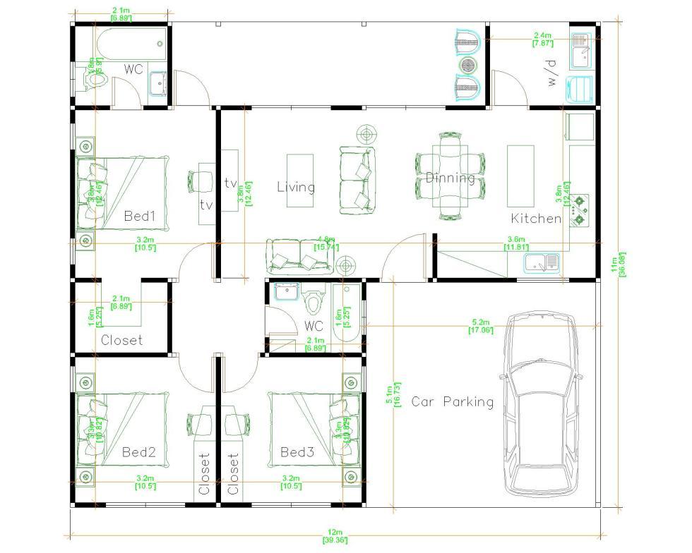 Single Floor House Plans 12x11 Meter 39x36 Feet 3 Beds layout floor plan