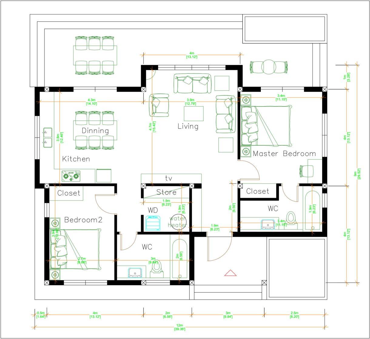 One Storey Building 12x9 Meter 40x30 Feet 2 Beds floor plan