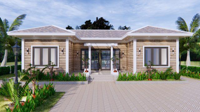 3d House Drawing 13x7.5 Meter 43x25 Feet 3 Beds 3