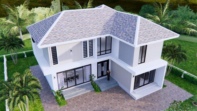 Home Designs 12.4x11 Meter 41x35 Feet 4 Beds 4