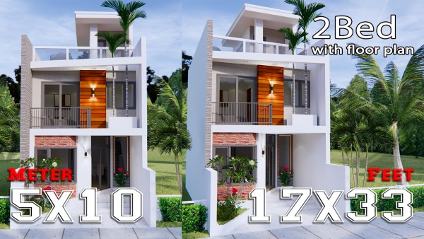 Home Designs 5x10 Meter 17x33 Feet 2 Beds
