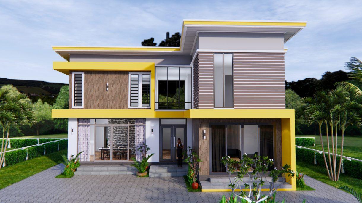 House Design 12.4x11 Meter 41x35 Feet 4 Beds 2