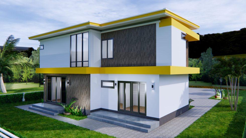 House Design 12.4x11 Meter 41x35 Feet 4 Beds 6