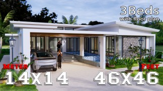 House Design with Pool 14x14 Meter 46x46 Feet 3 Beds