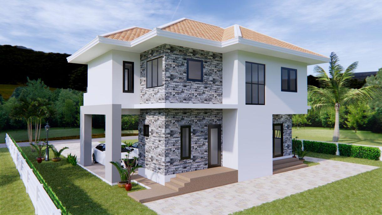 House Plans 11x8 Meter 36x26 Feet 3 Beds 7