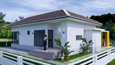 House Plans with Pool 14x14 Meter 46x46 Feet 3 Beds 6