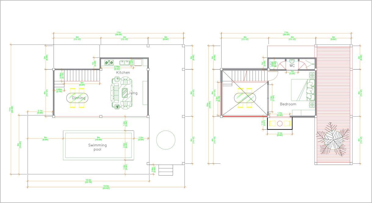 Lake House Plans 13x11 Meter 44x36 Feet Layout floor plan
