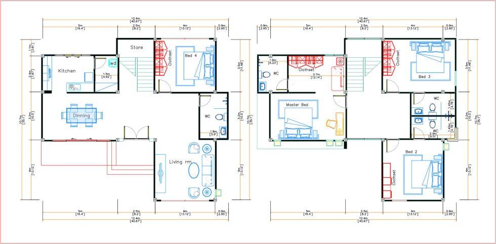 House Design 12.4x11 Meter 41x35 Feet 4 Beds layout floor plan