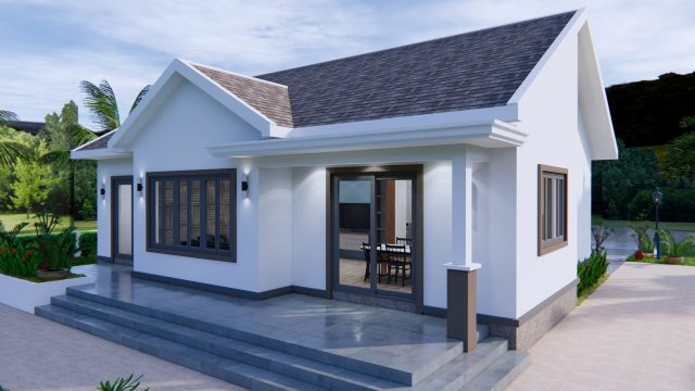Modern House Drawing 12x9 Meter 40x30 Feet 2 Beds 6