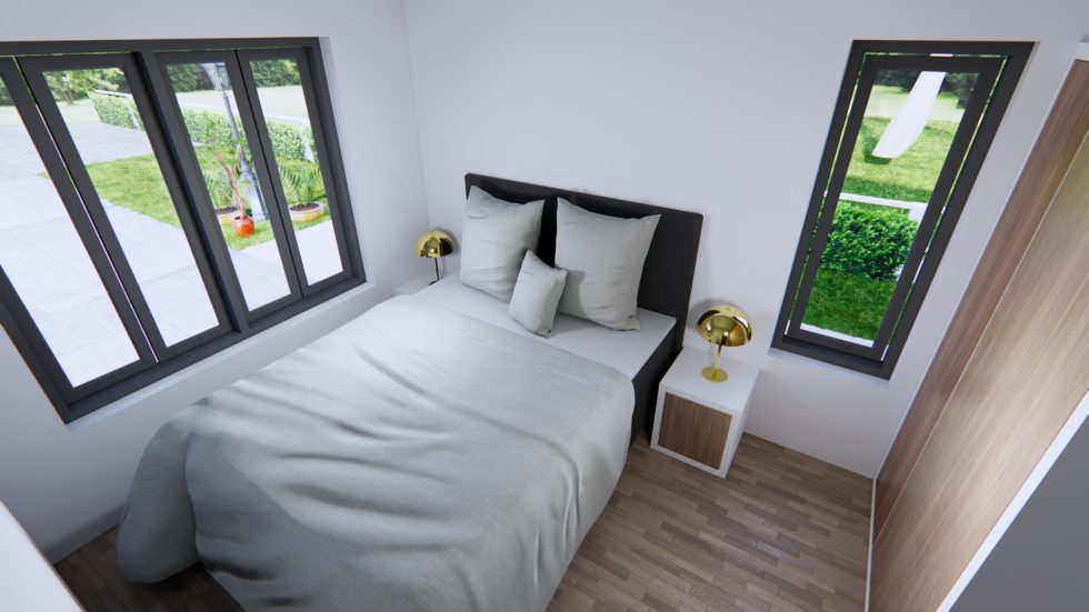 Modern House Drawing 12x9 Meter 40x30 Feet 2 Beds Bedroom 2