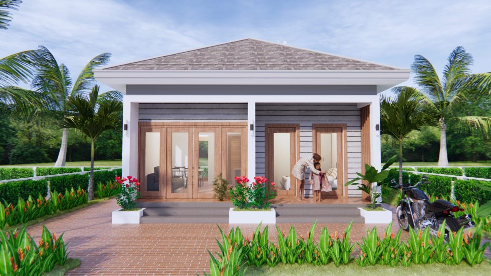 Small House Design 7x7 Meter 23x23 Feet One Bed 3