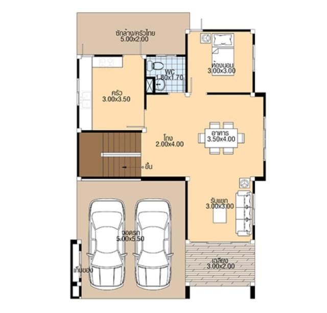 House Plans 7.5x12 Meter with 4 Bedrooms floor plan ground floor