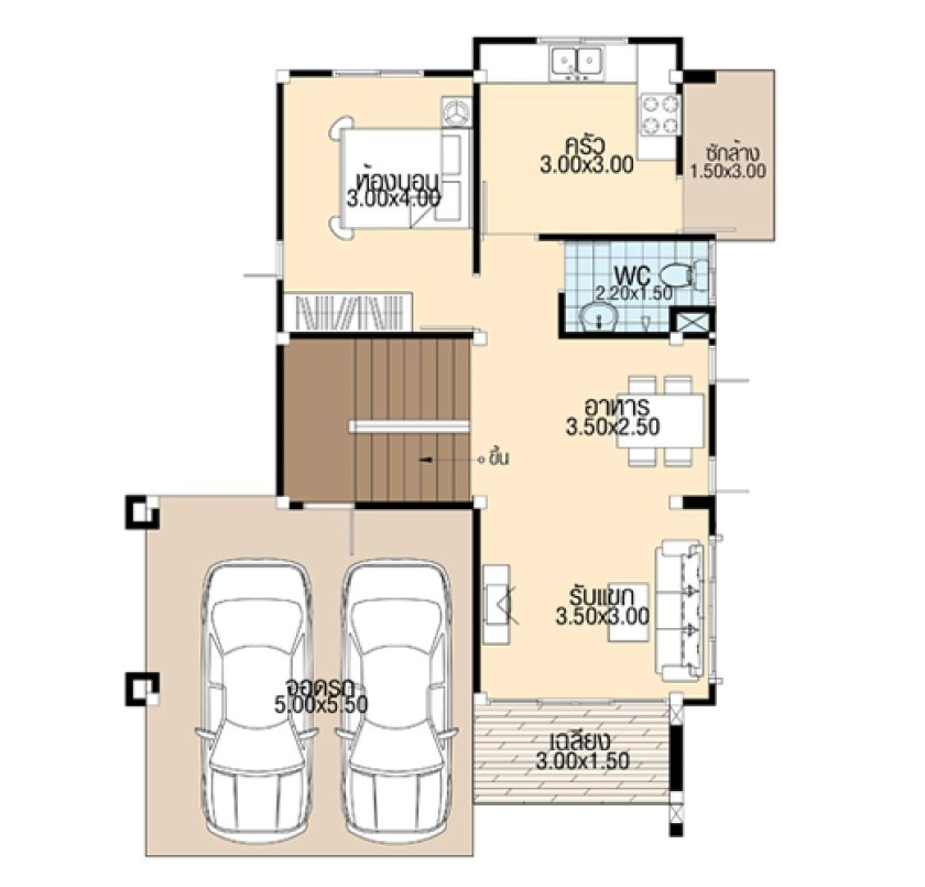 Simple House Design 8.5x12 with 4 bedrooms ground floor plan
