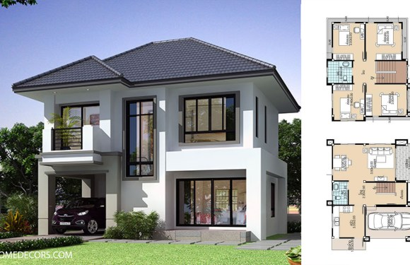 Simple House Plans 8.8×8 with 4 Bedrooms