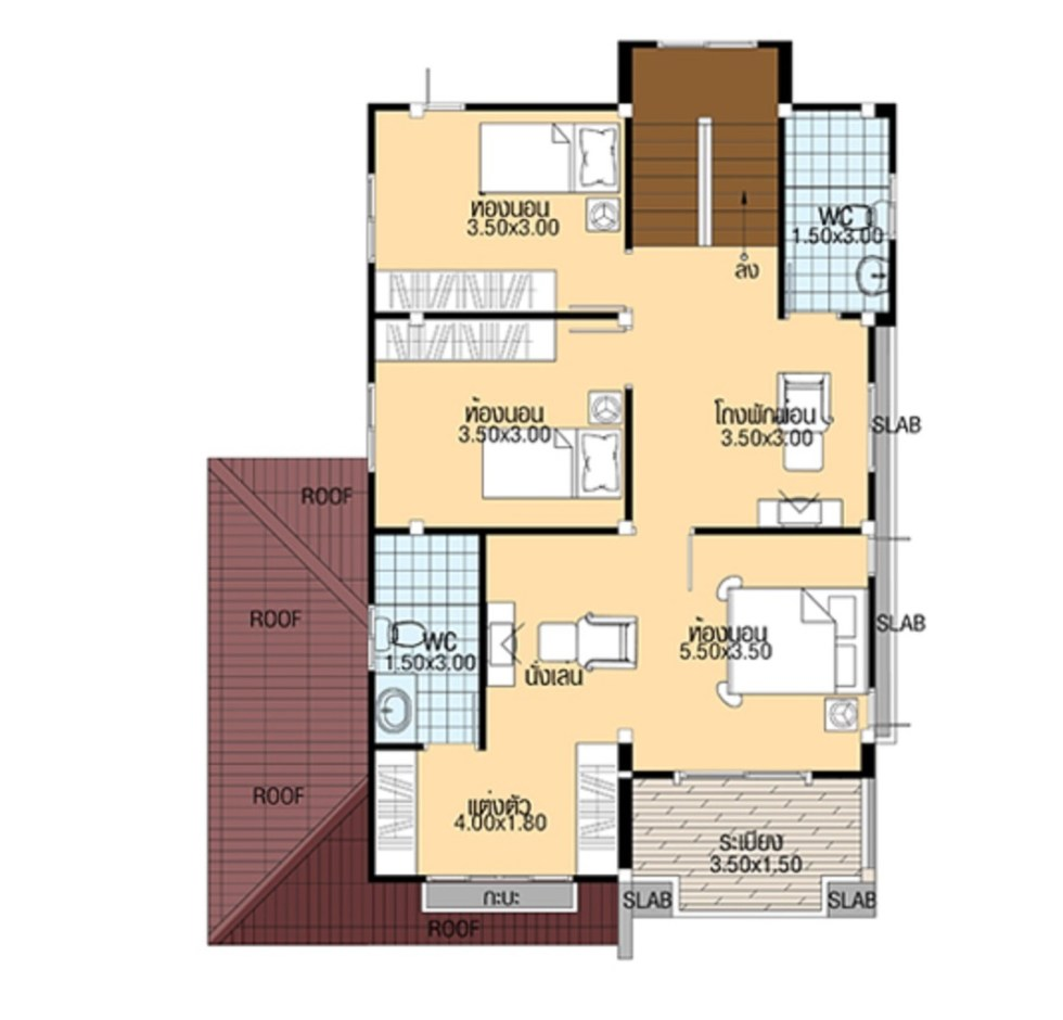 Small House Design 8.5x11 with 4 bedrooms first floor plan