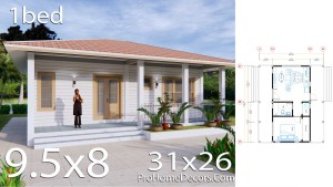House Plans 32x16 with 1 Bedroom PDF Floor Plan