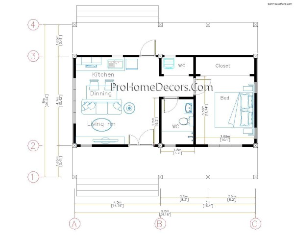 Layout House Plans 32x16 with 1 Bedroom PDF Floor Plan
