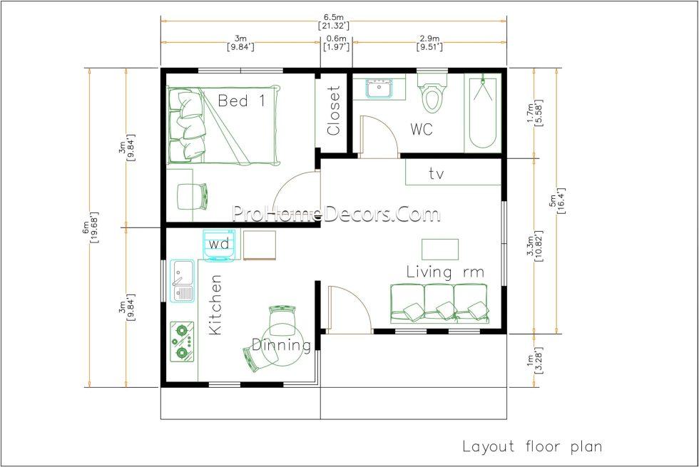 Small House Plans 6.5x6 Meter floor plan