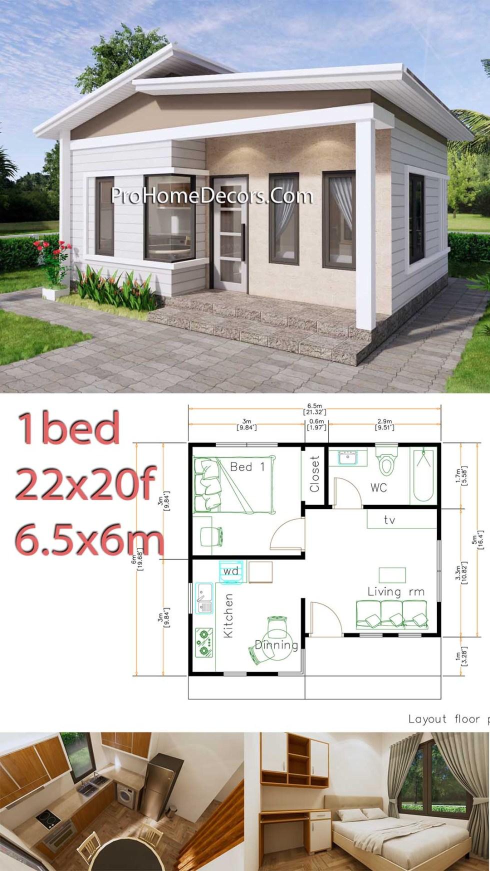Small House Plans 6.5x6 Meter 22x20 Feet PDF Floor Plans P1