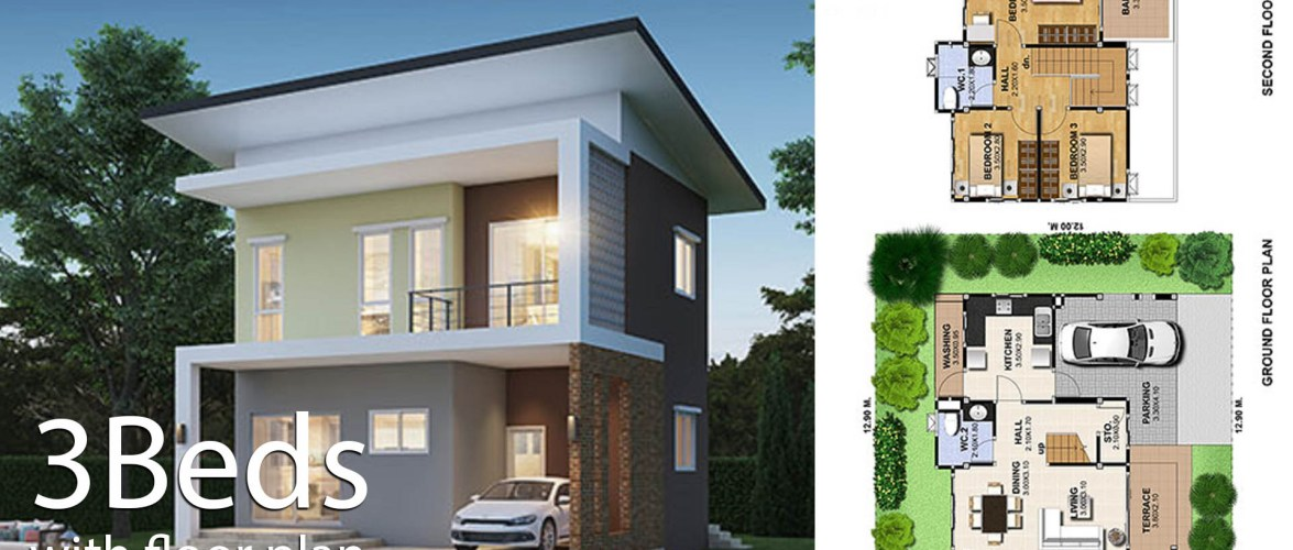 House Design Plans 9.2×8 with 3 Bedrooms