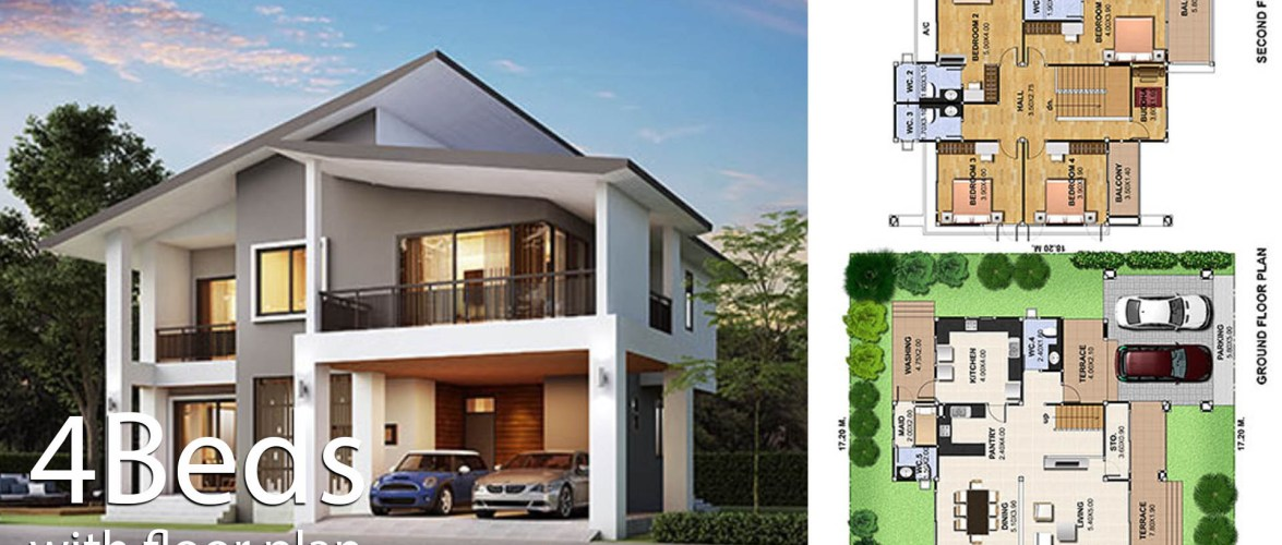 House Design Plot 17×18 with 4 Bedrooms