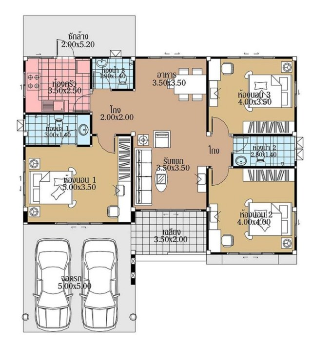 House Plans 12.5x12.5 with 3 Bedrooms floor plans