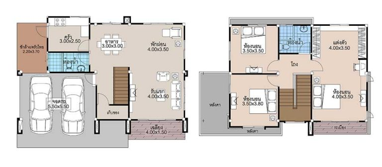 House Plans 13.5x9 with 3 Beds floor plan
