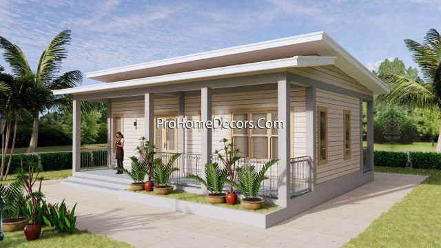 House Design Plans 32x16 Shed Roof 1 Bed PDF Plan 1