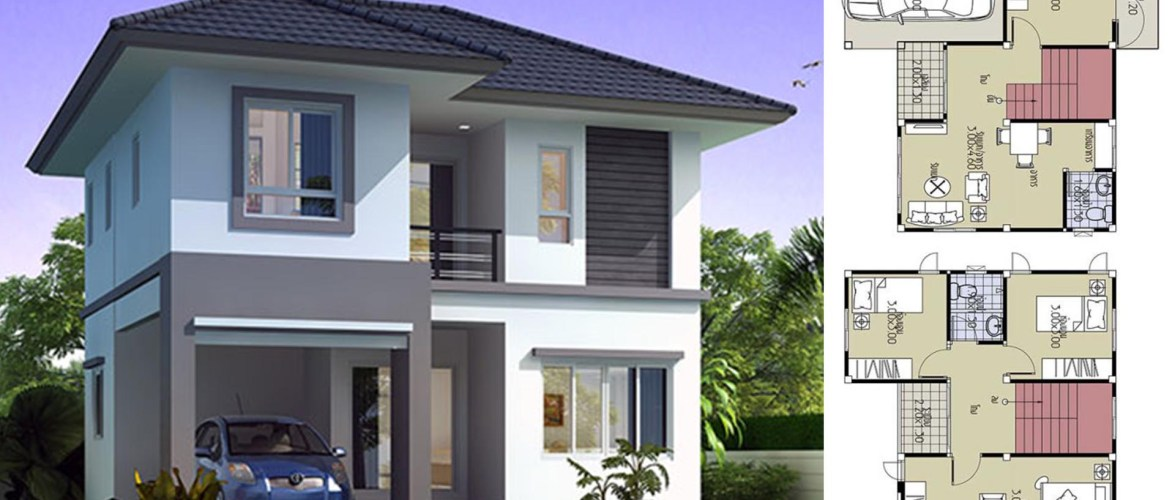House Plans 8.2×7.5 with 3 Beds