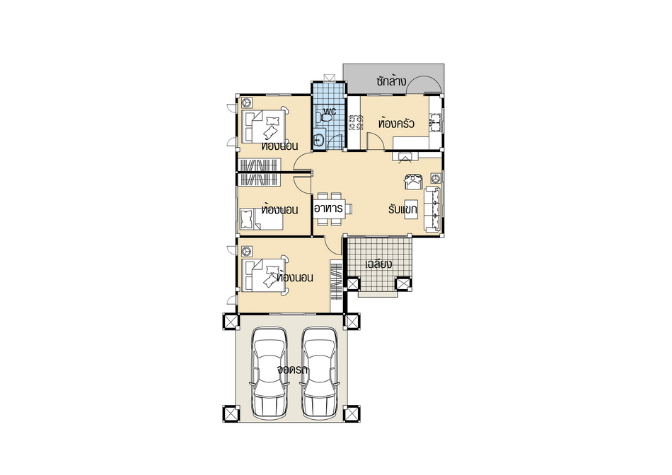 House Plans 9.5x14.5 with 3 Beds floor plan