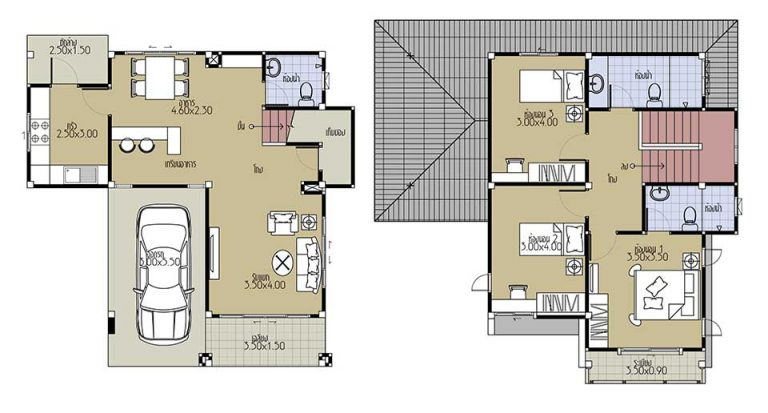 House Plans 9x9.5 with 3 Beds floor plan