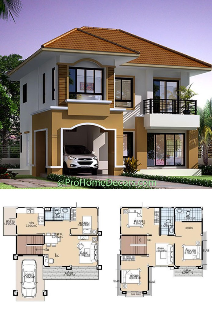 House Plans 9x9.5 with 4 Bedrooms