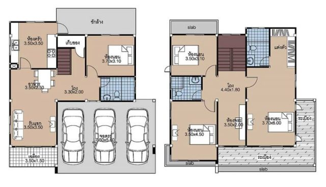 House plans 11x11 with 4 Beds floor plan