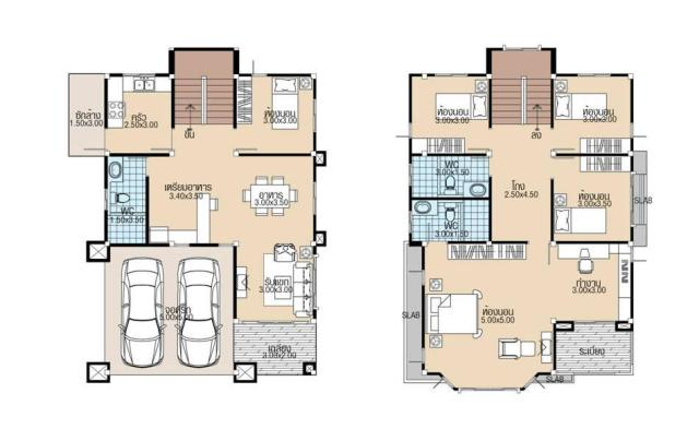House plans 8x11.5 with 5 Beds floor plan