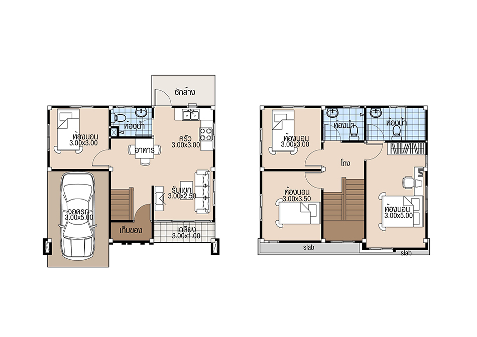 Small House Plans 8x6.5 with 4 Beds floor plan