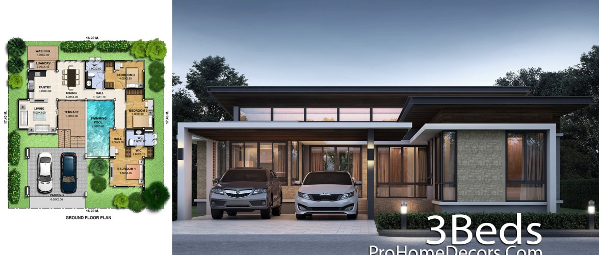 3 Bedrooms House Plan Plot 16×17 Meter