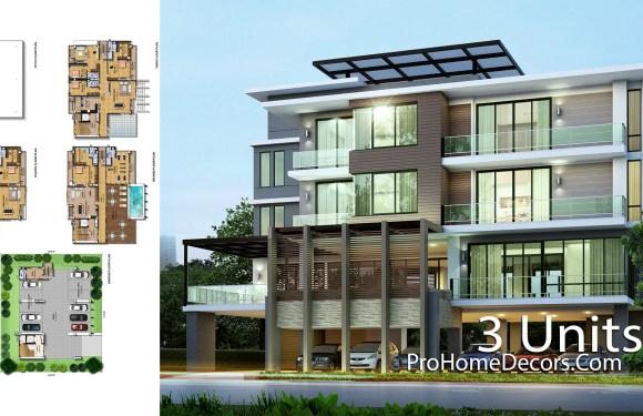 3 Units Apartment Plan Plot 28×24 Meter