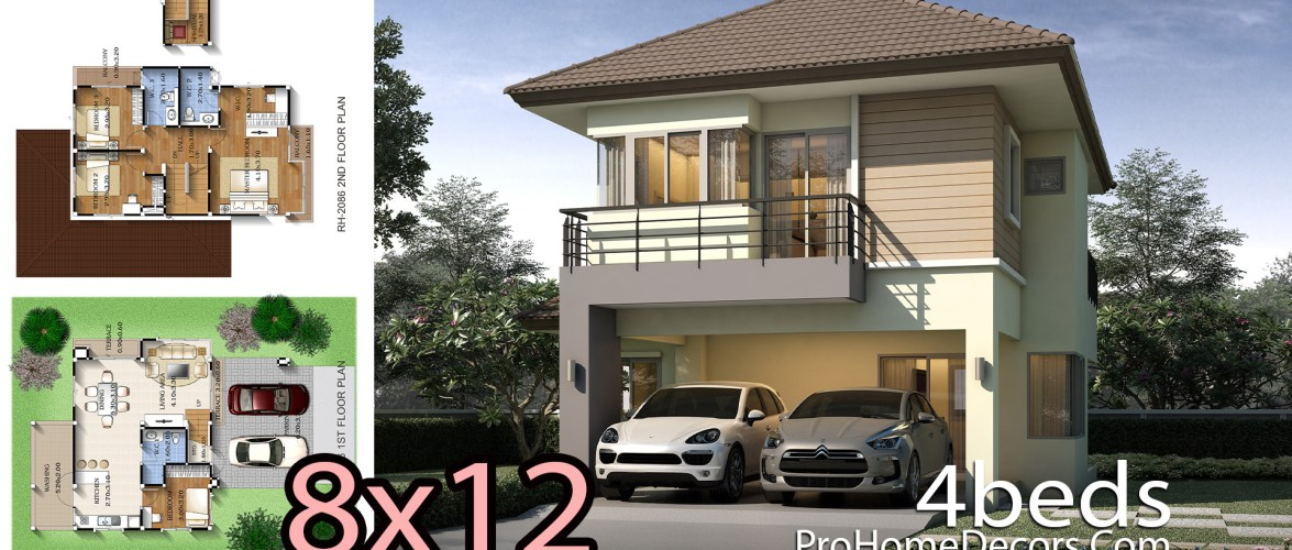 4 Bedrooms House Design 8×12 meters