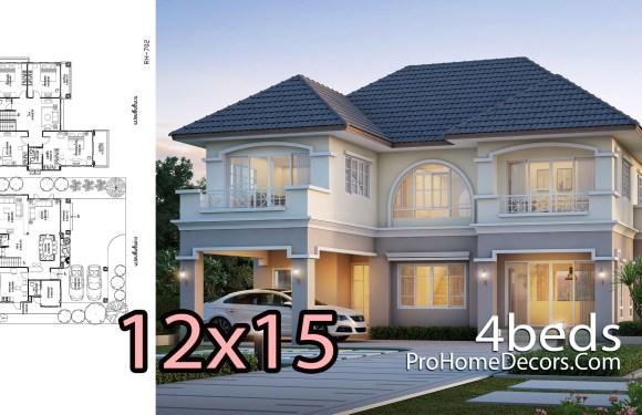 House Design Plans 12×15 Meter 4 Bedrooms