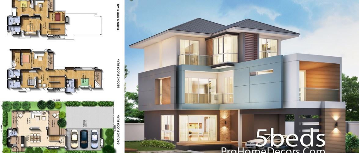 House Design Plot 12×25 meter 5 Bedrooms