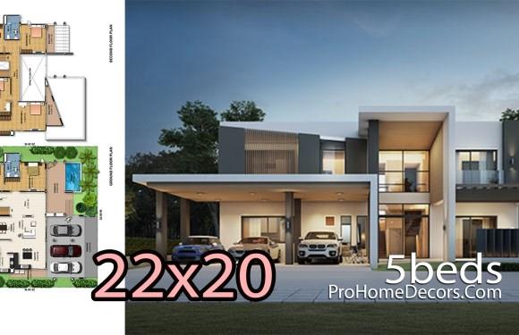 House Design Plot 22×20 Meters 5 Bedrooms