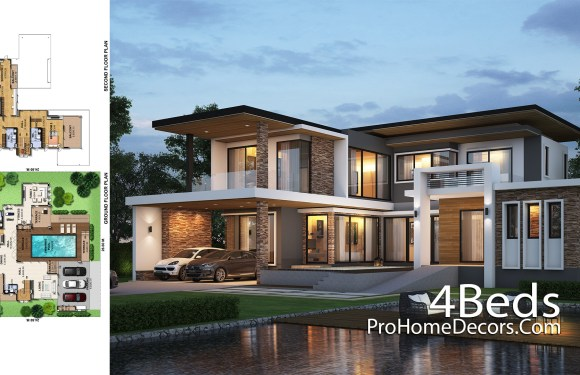 House Design Plot 26×24 Meter with 4 Bedrooms