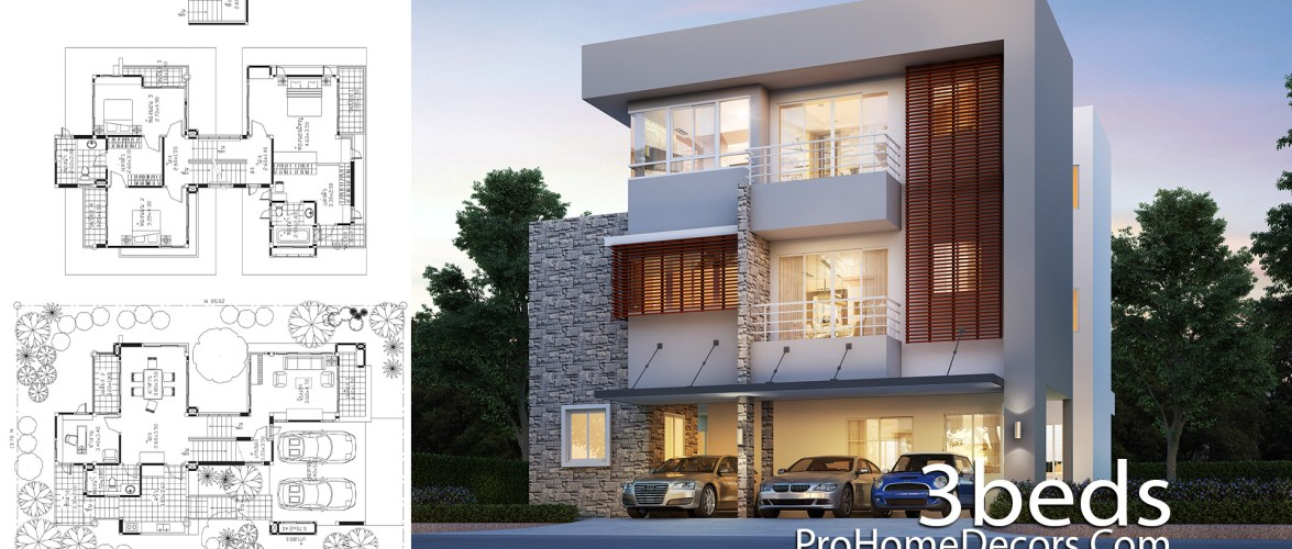 House Idea Plot 13×20 Meter with 3 Bedrooms