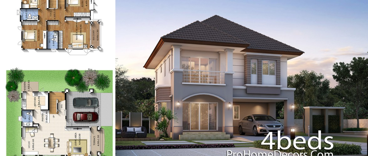 House Plan Idea 9×11 meter with 4 Bedrooms