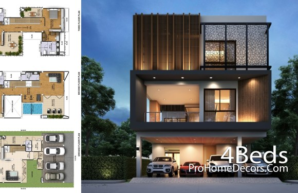House Plan Plot 12×20 Meter with 4 Bedrooms