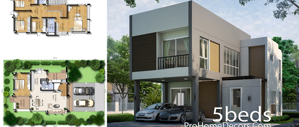 House Plan Plot 13×20 Meter with 5 Bedrooms