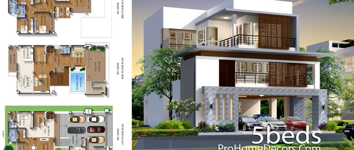 House Plan Plot 13×25 Meter with 5 Bedrooms